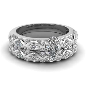 cross design pear shaped pave diamond wedding ring set in FDENS1482PE NL WG