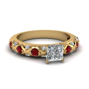 Princess Cut Natural Ruby Ring