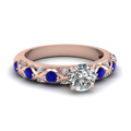 round cut diamond cross band side stone engagement ring with blue sapphire in 14K rose gold FDENS1482RORGSABL NL RG