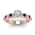 round cut diamond cross band side stone engagement ring with blue sapphire in 14K rose gold FDENS1482RORGSABLANGLE5 NL RG