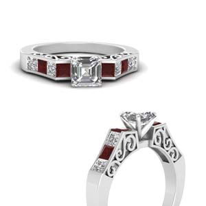 channel diamond asscher cut vintage engagement ring with ruby in FDENS151ASRGRUDRANGLE3 NL WG
