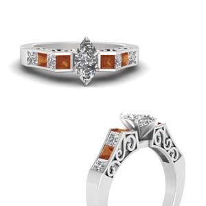 channel diamond marquise cut vintage engagement ring with orange sapphire in FDENS151MQRGSAORANGLE3 NL WG