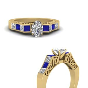 Yellow Gold Art Deco Sapphire Ring