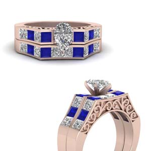 Sapphire With Pear Cut Ring Set