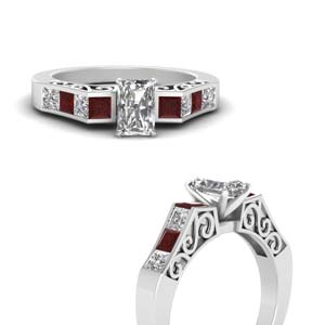 channel diamond radiant cut vintage engagement ring with ruby in FDENS151RARGRUDRANGLE3 NL WG