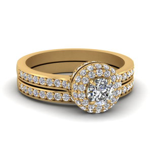 Crown Pave Halo Wedding Ring Set