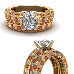 Antique Pave Orange Sapphire Ring Set