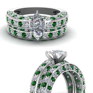 18K White Gold Wedding Set
