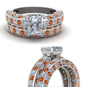 Orange Sapphire Antique Wedding Set