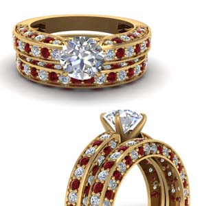 Round Diamond Bridal Set With Ruby