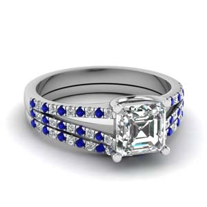 Sapphire Split Wedding Ring Set