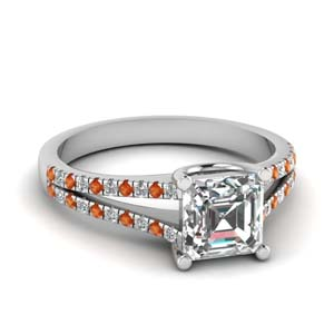 French Pave Orange Sapphire Ring