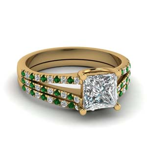 Beautiful Emerald Bridal Ring Set