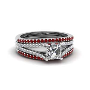 asscher cut diamond cheap trio bridal sets for women with ruby in 14K white gold FDENS1759TASGRUDR NL WG