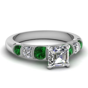 milgrain prong bar set asscher diamond engagement ring with emerald in FDENS1783ASRGEMGR NL WG
