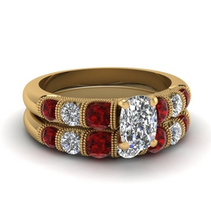 Ruby With Cushion Diamond Ring Set