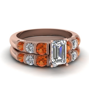 Orange Sapphire Wedding Set