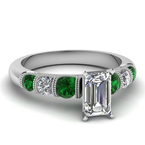 milgrain prong bar set emerald cut diamond engagement ring with emerald in FDENS1783EMRGEMGR NL WG