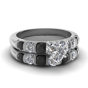 milgrain prong bar set heart wedding ring set with black diamond in FDENS1783HTGBLACK NL WG