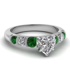 milgrain prong bar set heart diamond engagement ring with emerald in FDENS1783HTRGEMGR NL WG