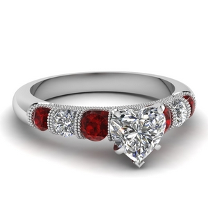 milgrain prong bar set heart diamond engagement ring with ruby in FDENS1783HTRGRUDR NL WG