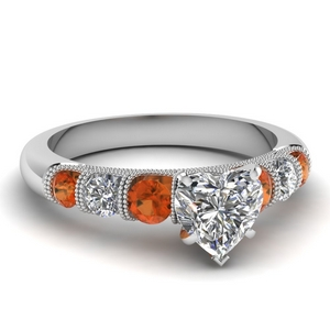 milgrain prong bar set heart diamond engagement ring with orange sapphire in FDENS1783HTRGSAOR NL WG