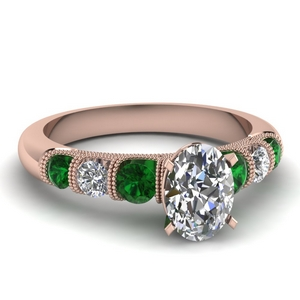 milgrain prong bar set oval diamond engagement ring with emerald in FDENS1783OVRGEMGR NL RG