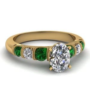 milgrain prong bar set oval diamond engagement ring with emerald in FDENS1783OVRGEMGR NL YG