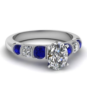 milgrain prong bar set oval diamond engagement ring with sapphire in FDENS1783OVRGSABL NL WG