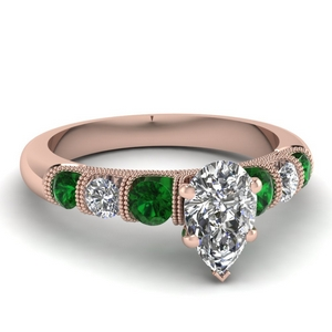 milgrain prong bar set pear diamond engagement ring with emerald in FDENS1783PERGEMGR NL RG