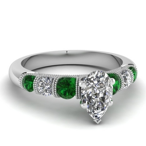 milgrain prong bar set pear diamond engagement ring with emerald in FDENS1783PERGEMGR NL WG