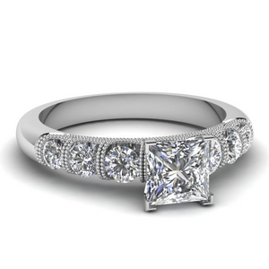 Milgrain Bar Set Diamond Ring