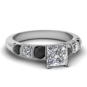 milgrain prong bar set princess cut engagement ring with black diamond in FDENS1783PRRGBLACK NL WG