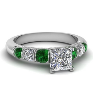 milgrain prong bar set princess cut diamond engagement ring with emerald in FDENS1783PRRGEMGR NL WG
