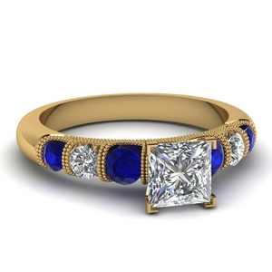milgrain prong bar set princess cut diamond engagement ring with sapphire in FDENS1783PRRGSABL NL YG