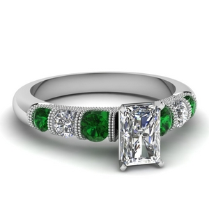 milgrain prong bar set radiant diamond engagement ring with emerald in FDENS1783RARGEMGR NL WG