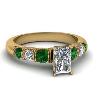 milgrain prong bar set radiant diamond engagement ring with emerald in FDENS1783RARGEMGR NL YG
