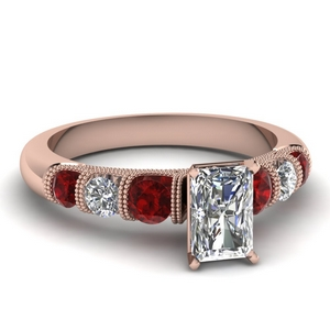 Ruby With Radiant Diamond Ring