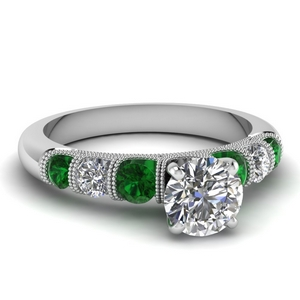 milgrain prong bar set round diamond engagement ring with emerald in FDENS1783RORGEMGR NL WG