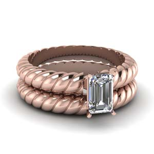 Rope Solitaire Wedding Ring Set