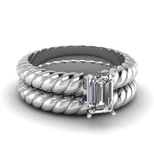 Rope Solitaire Bridal Ring Set