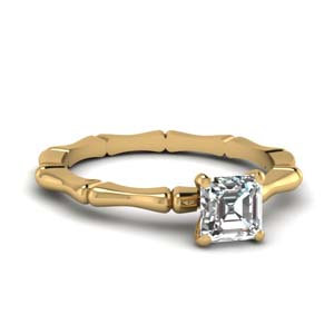 Hot Selling Asscher Cut Solitaire Rings