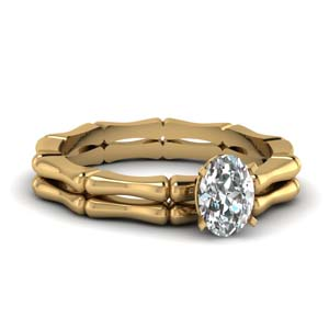 Prong Oval Diamond Ring Set