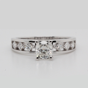 1 carat cushion diamond kite set engagement ring in 14K white gold FDENS1828CUR