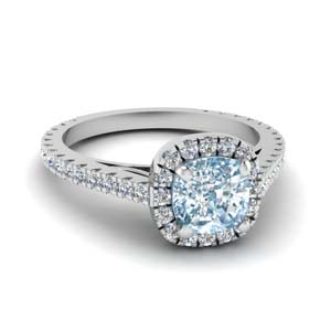 Platinum Aquamarine Engagement Ring