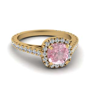 Halo 18K Yellow Gold Morganite Ring