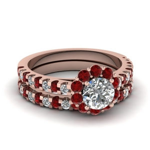 floating flower diamond wedding ring set with ruby in FDENS1956ROGRUDR NL RG
