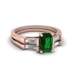 Emerald Wedding Ring Set With Baguette