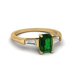 14K Yellow Gold Baguette And Emerald Ring