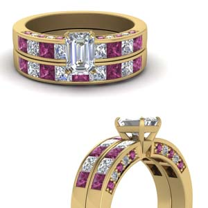 Pink Sapphire Channel Bridal Set